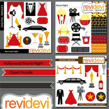 Hollywood Movie Night Clip art (3 packs).