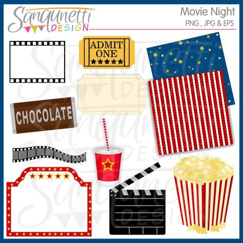 Movie Night clipart includes blank ticket, chocolate bar.
