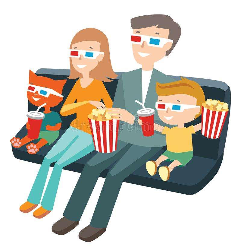 Family Watching A Movie Clipart.