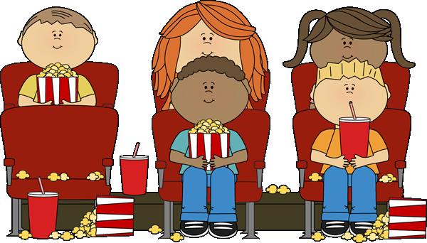 Kids Watching Movie Clipart.