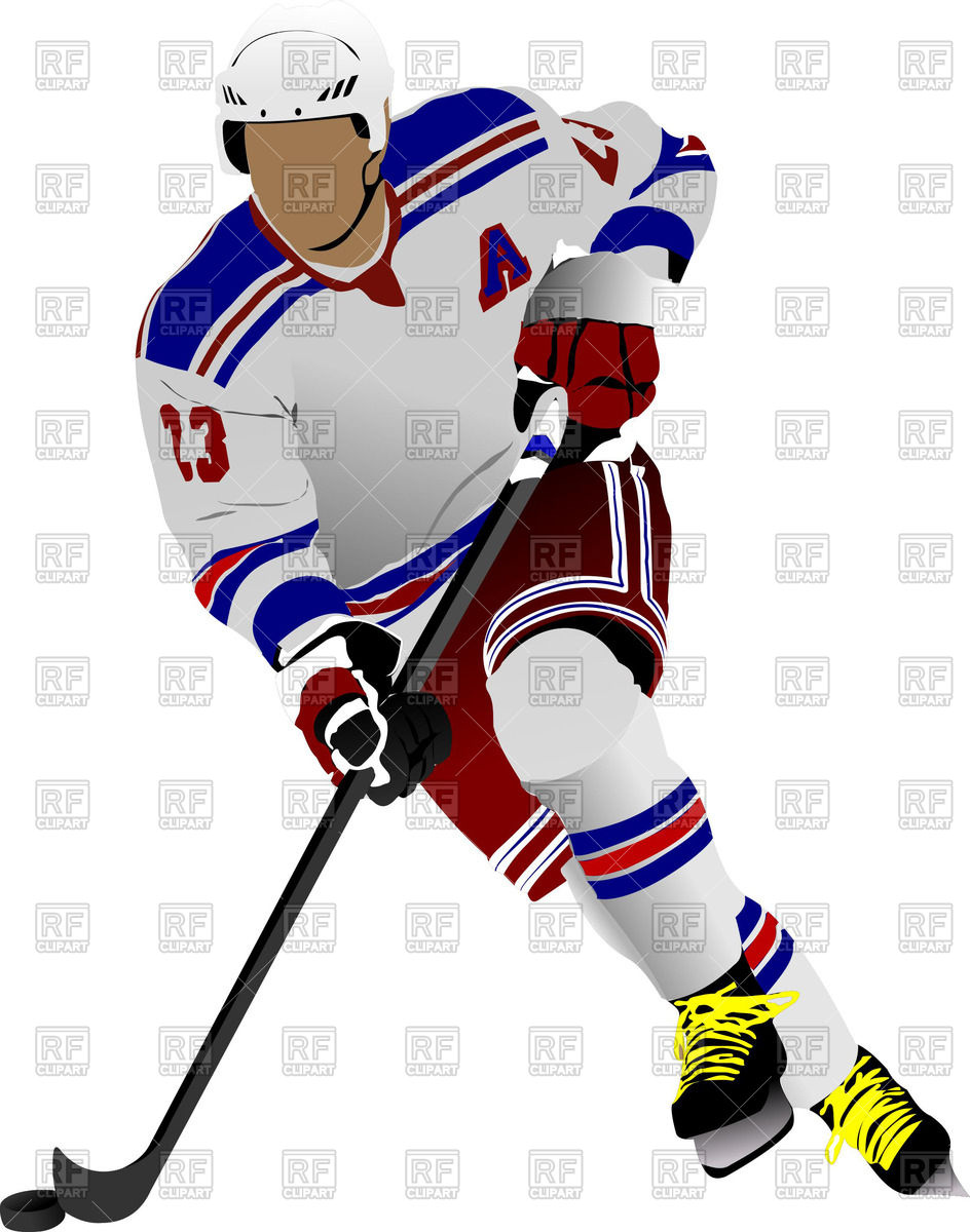 Colored silhouette of ice hockey player in action Vector Image.