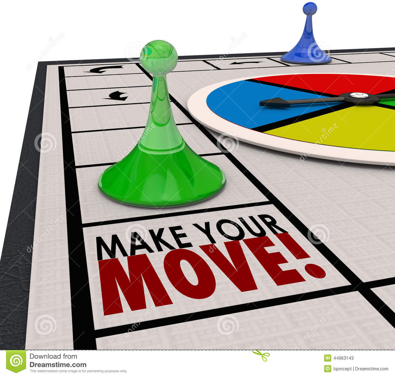 Make Your Move Board Game Piece Action Forward Turn Stock.