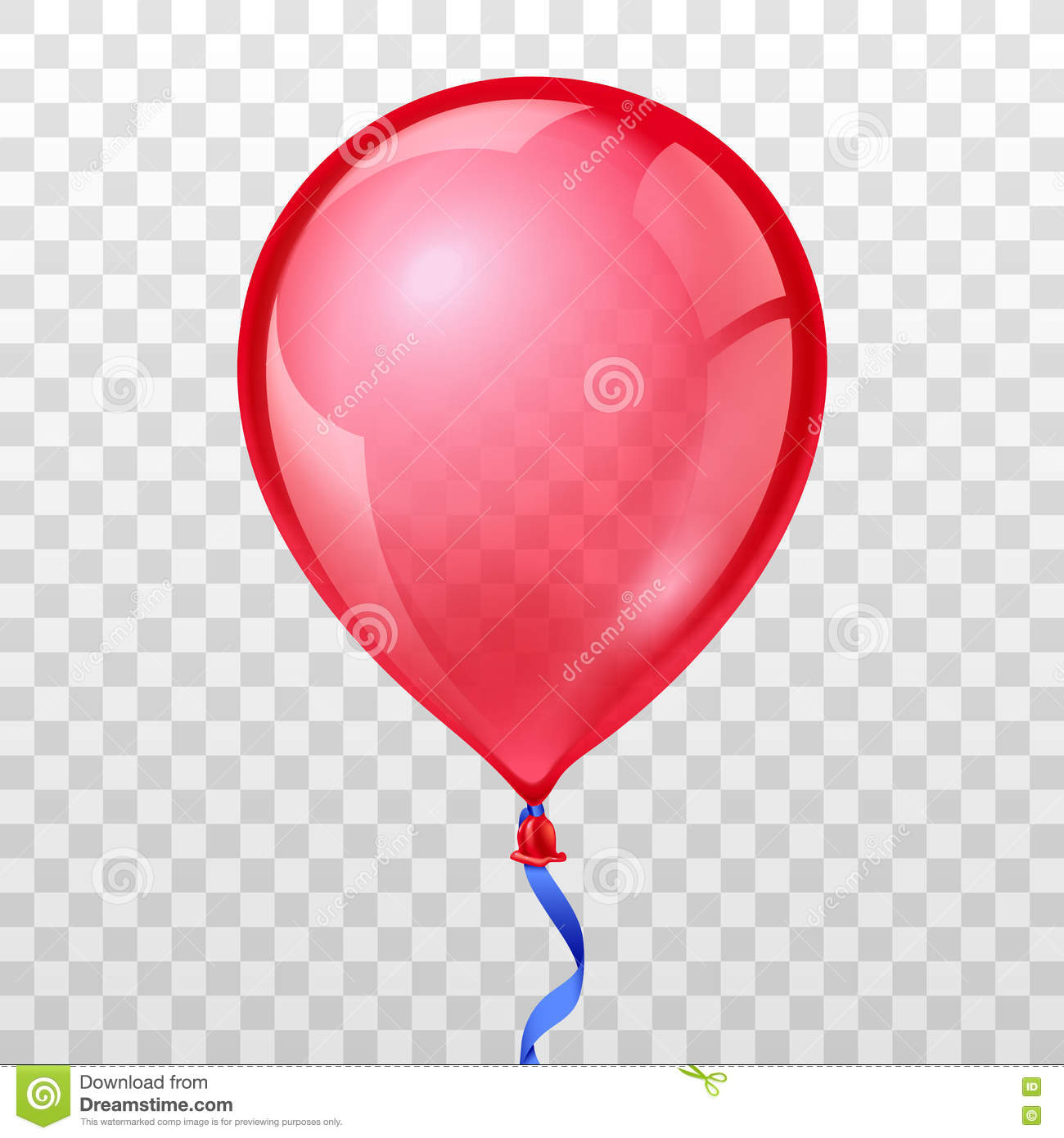 Realistic Red Balloon On Transparent Checkered Background.