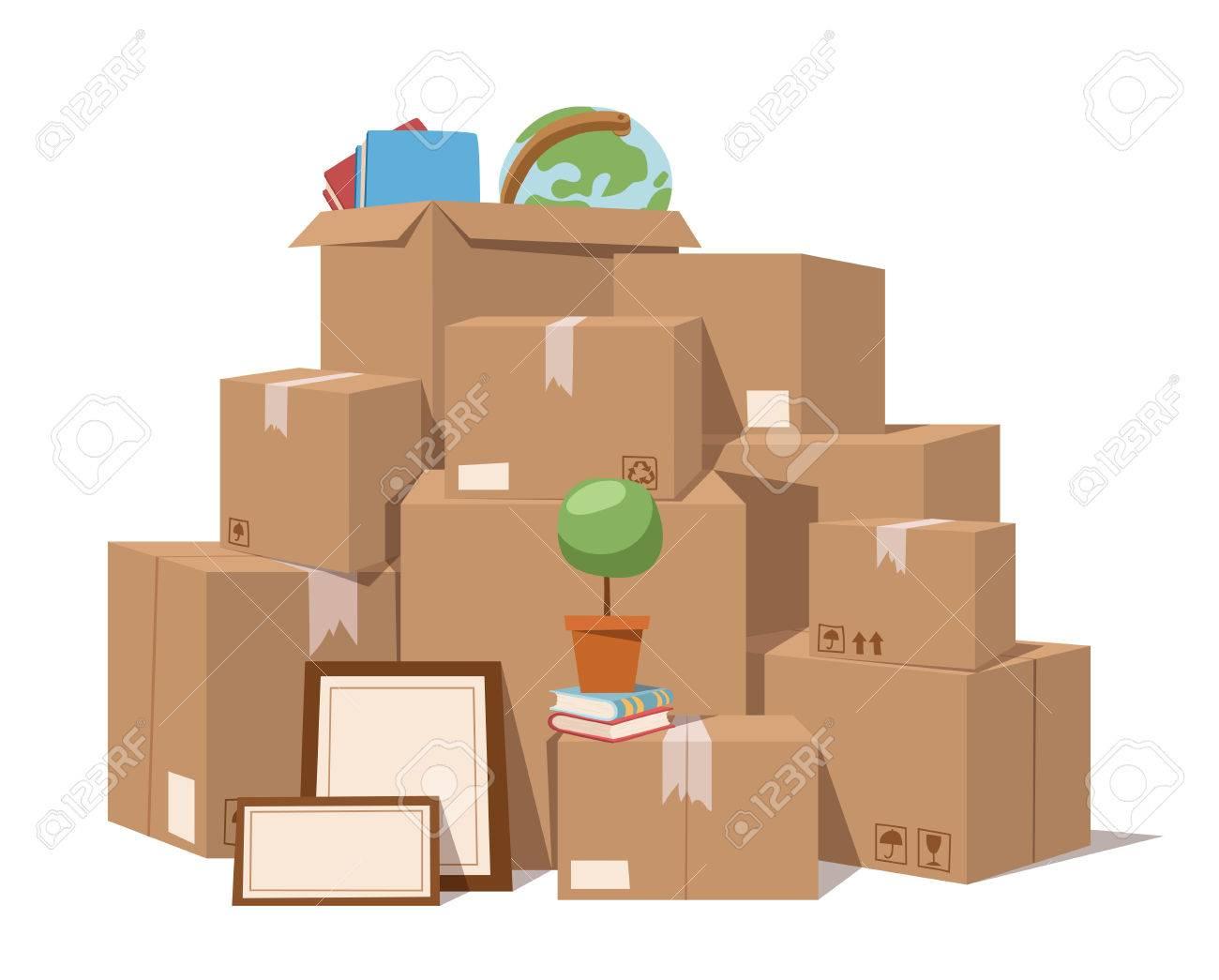 Move service box full vector illustration. Move box business.