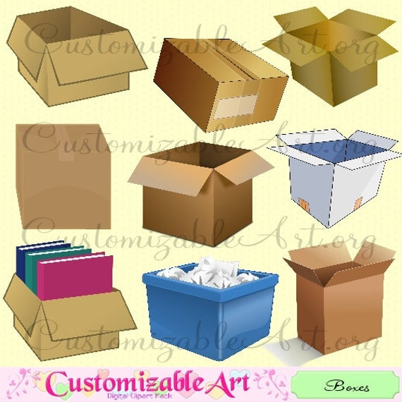 Moving Boxes Cardboard Box Clipart Digital Clip Art Open Closed Taped  Packing Recycled Bin Paper Trash Brown Box Clipart Images Graphics.