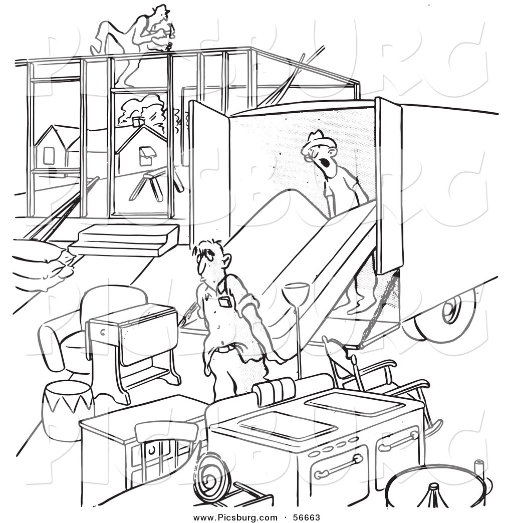Clip Art of a Retro Vintage Man Moving into an Incomplete House.