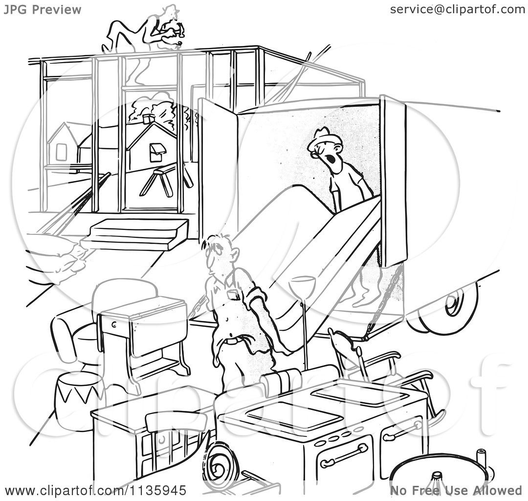 Clipart Of Retro Vintage Man Moving Into An Incomplete House Black.