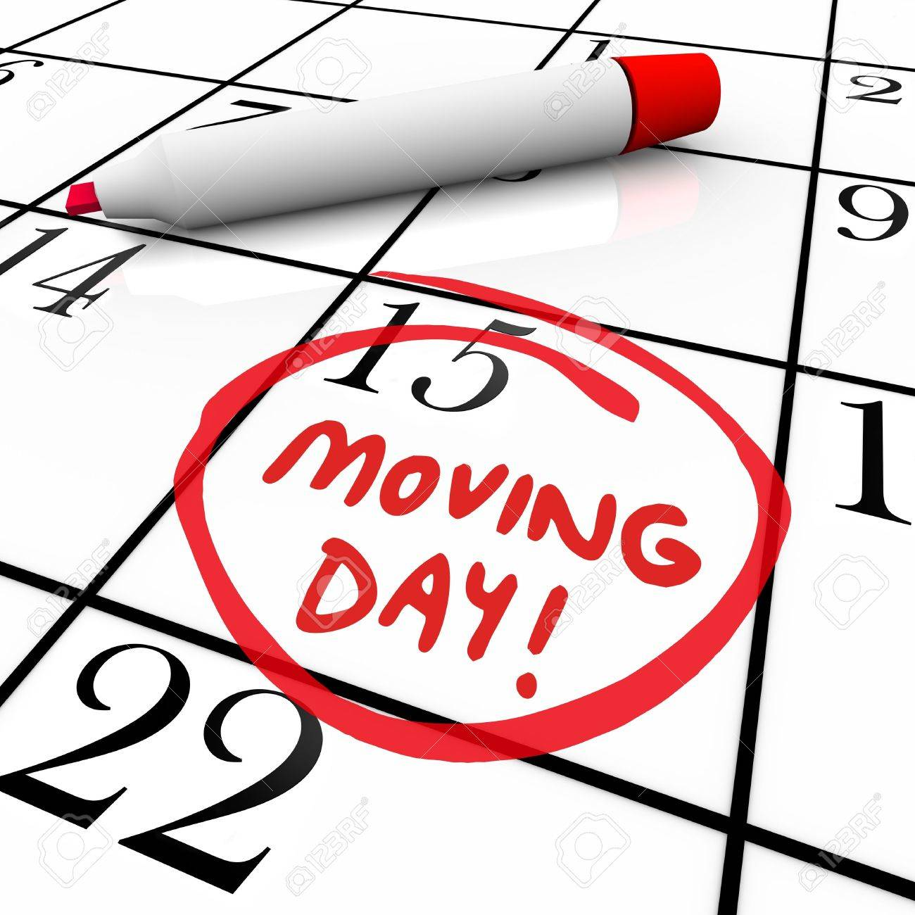 The words Moving Day and a date circled on a calendar with a...