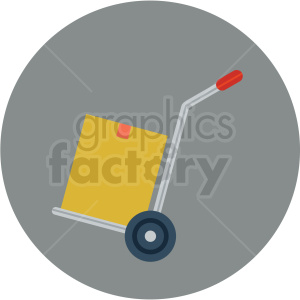 hand moving dolly vector flat icon clipart with circle background .  Royalty.