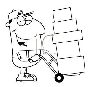 A Mover Moving Boxes on a Dolly.