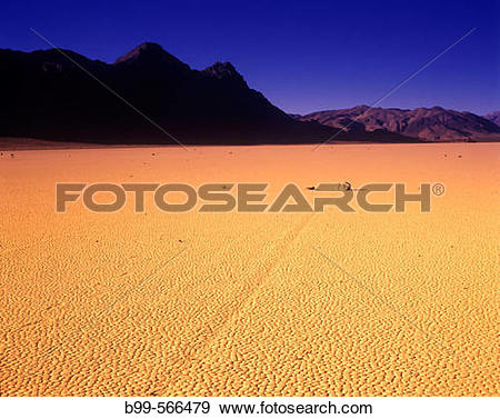 Stock Photograph of Scenic moving rocks. The Racetrack, Death.