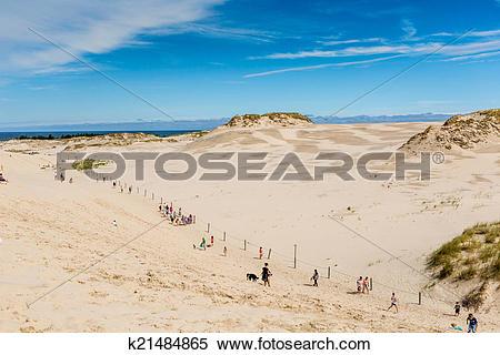 Stock Image of Moving dunes park near Baltic Sea in Leba, Poland.