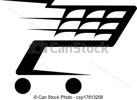 Clipart Vector of Abstract illustration of a shopping cart moving.