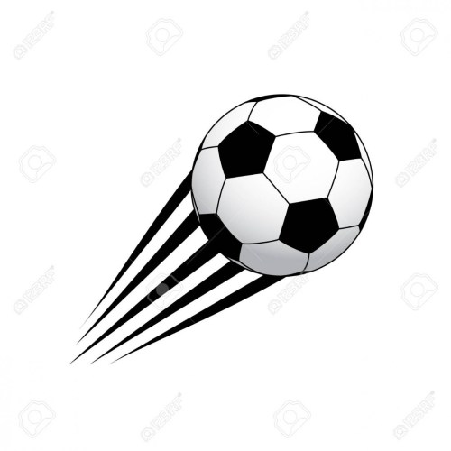 Moving soccer ball, black and white. Sport icon design.