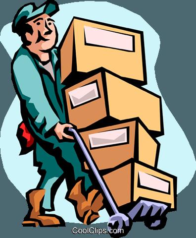 man moving boxes Royalty Free Vector Clip Art illustration.