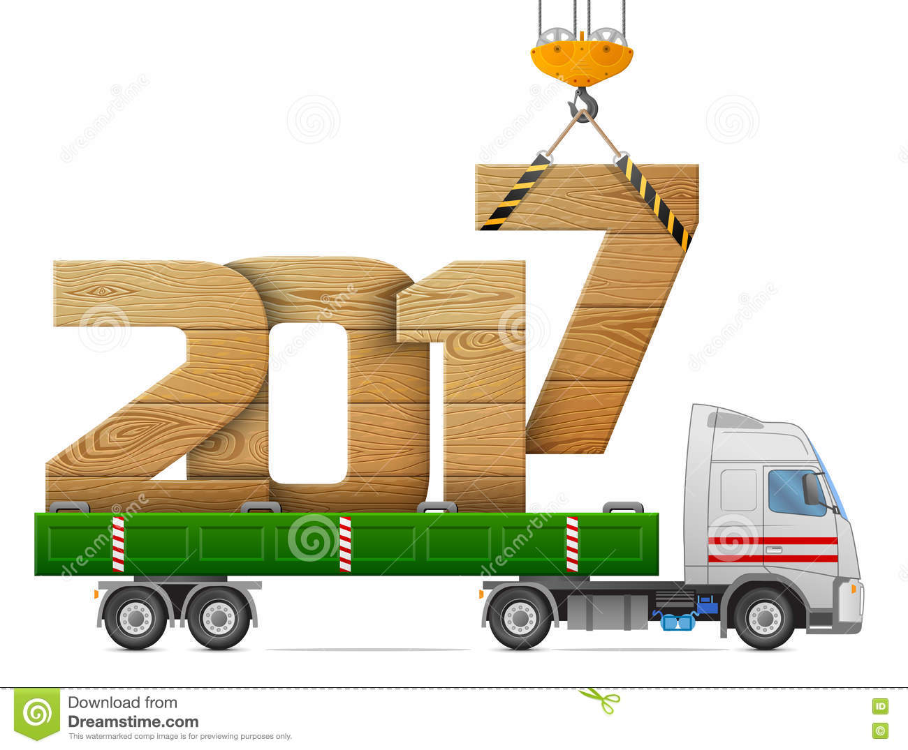 Crane Loads New Year 2017 Of Wood Stock Vector.