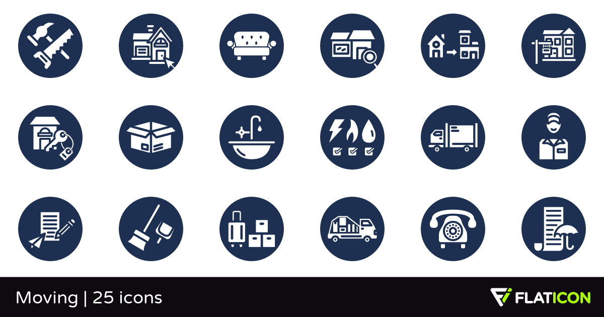 Moving 25 premium icons (SVG, EPS, PSD, PNG files).
