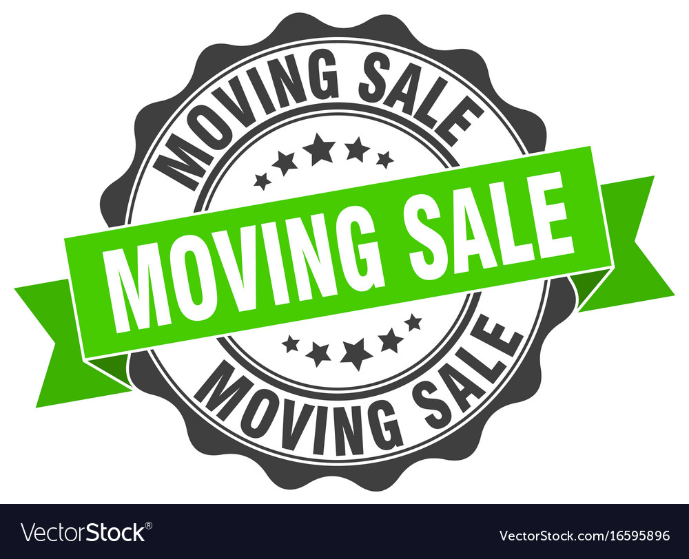 Moving sale stamp sign seal.