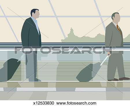 Stock Photography of Two businessmen on moving sidewalk at airport.