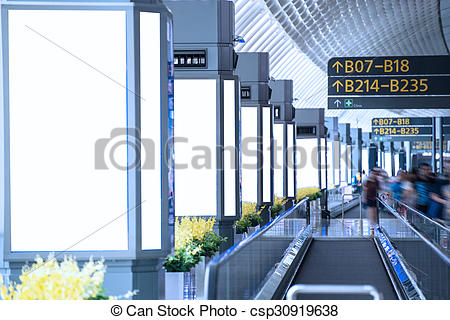 Stock Photos of billboards beside the moving sidewalk csp30919638.