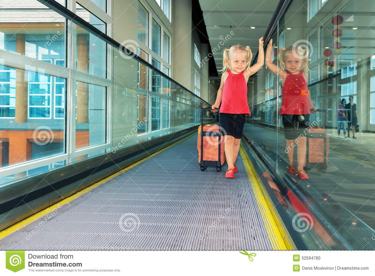 Airport Moving Sidewalk Also Travelator, Walkalator . Stock Photo.