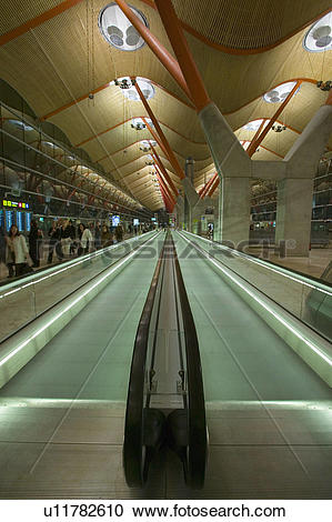 Stock Photography of Moving sidewalk at Madrid Barajas Airport.