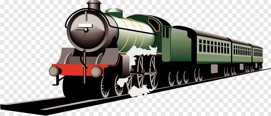 Green and black train art, Train Rail transport, Moving.