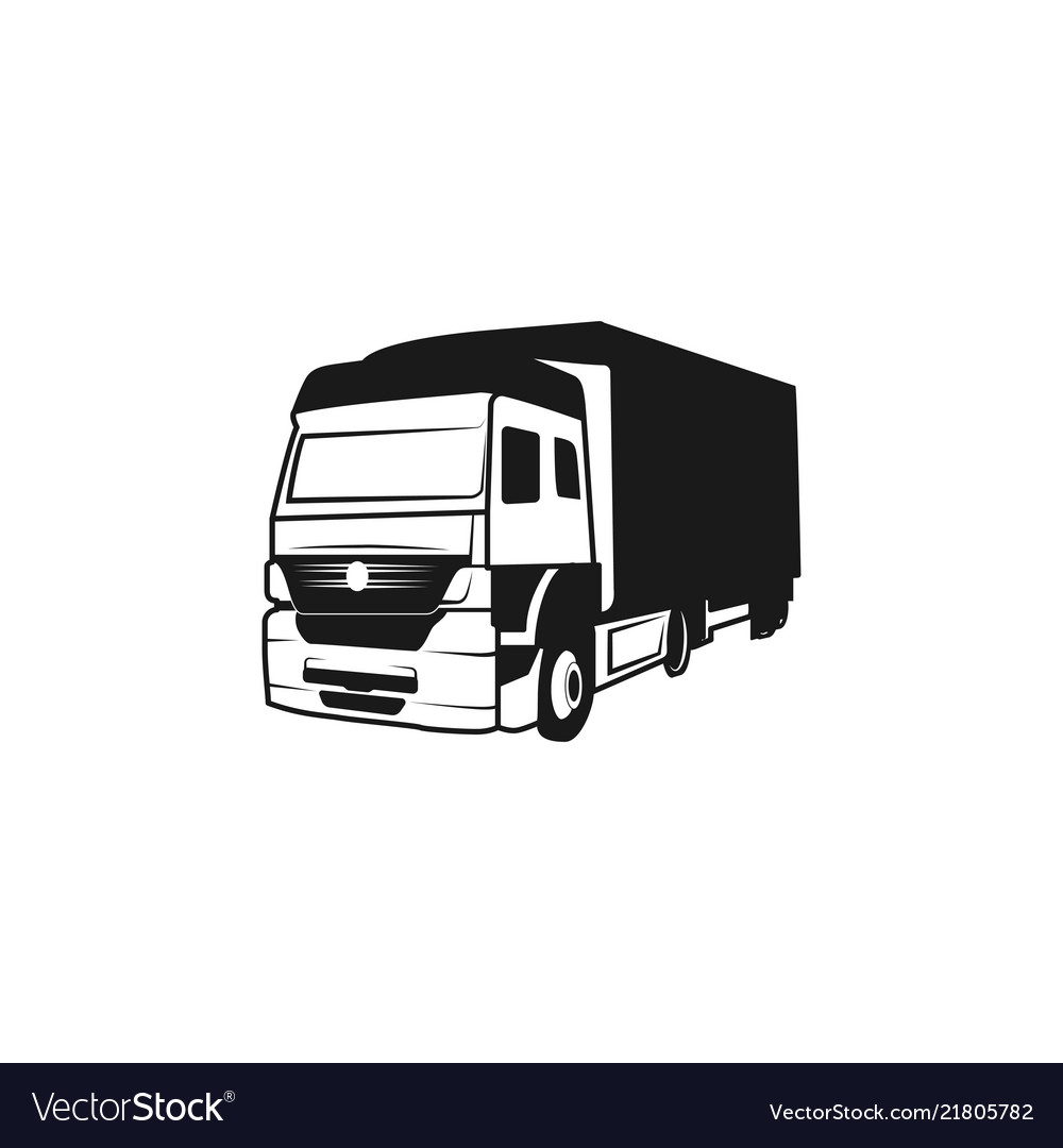 Truck silhouette moving logo design inspiration.