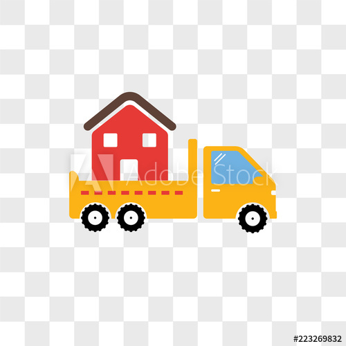 Moving truck vector icon isolated on transparent background.