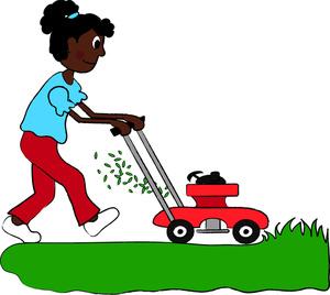 Kids mow lawn clipart.