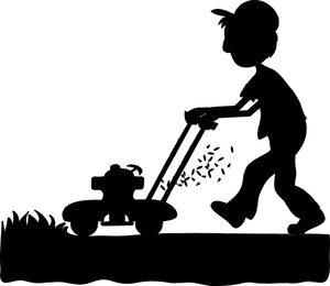 Person Mowing Lawn Clipart.