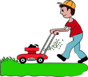 Showing post & media for Cartoon mowing the grass.