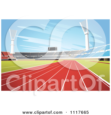 Vector Clipart Deserted Stadium With Mowed Grass.