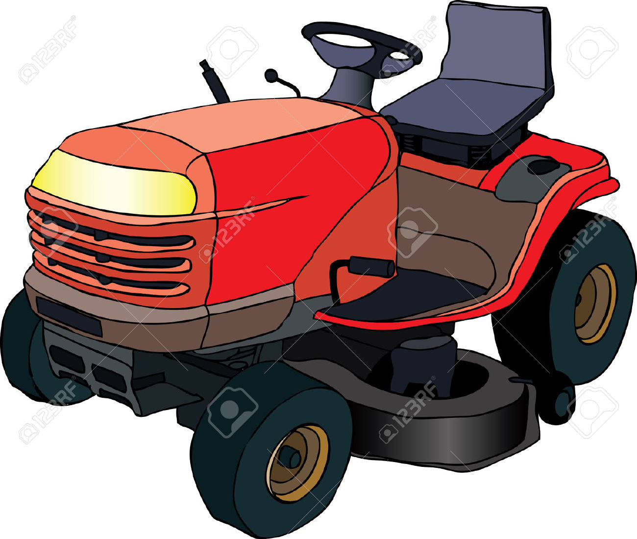 Illustration Of Red Lawn Mower Machine Royalty Free Cliparts.