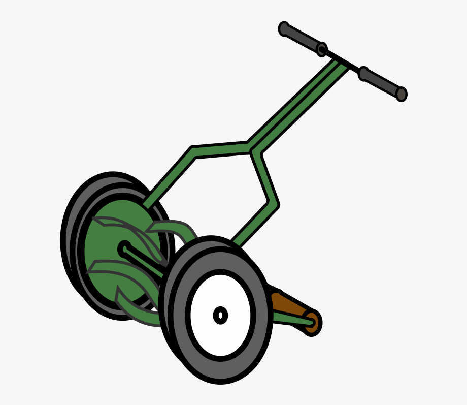 Cartoon Push Reel Lawn Mower Clip Art.