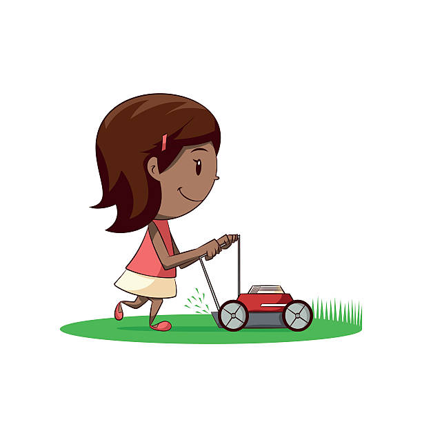 Woman With Lawn Mower Illustrations, Royalty.