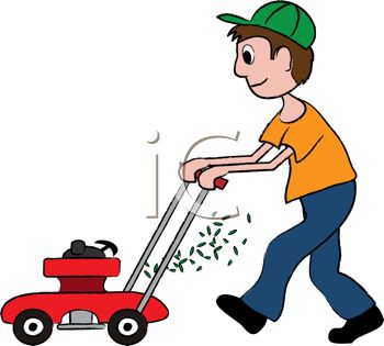 Clipart Illustration of a Man Mowing the Lawn.