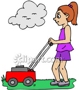 Girl Mowing the Lawn.