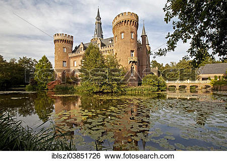 """Stock Images of """"Schloss Moyland Castle, moated castle, Museum of."""