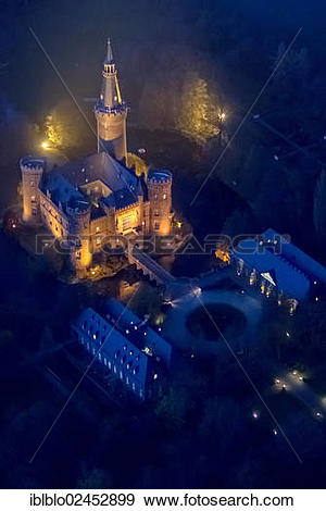 """Stock Photograph of """"Aerial view of Moyland moated castle, neo."""