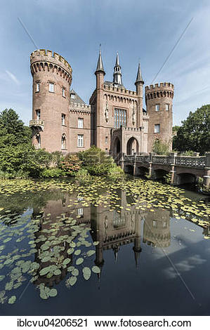 Stock Photography of Schloss Moyland, moated castle, Museum of.