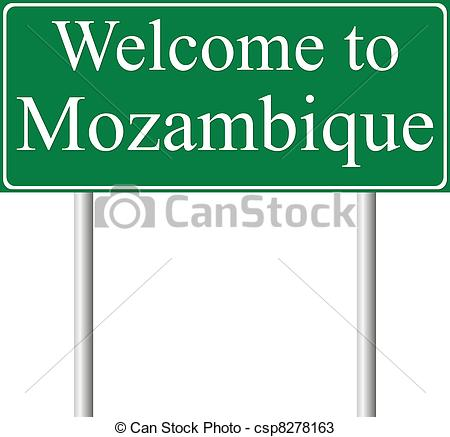 Vectors of Welcome to Mozambique, concept road sign isolated on.