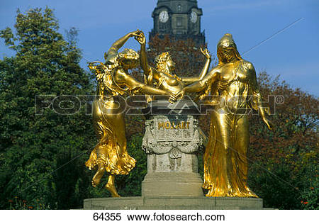 Stock Image of Statue in park, Mozart Fountain, Dresden, Saxony.