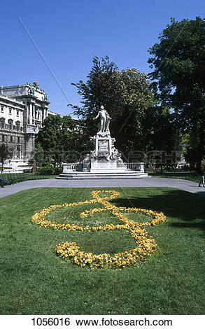 Stock Images of Austria, Vienna, Mozart statue in Burggarten Park.