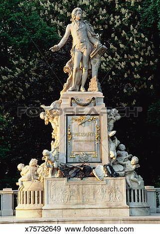 Stock Photograph of Austria, Vienna, Burggarten, Mozart Memorial.