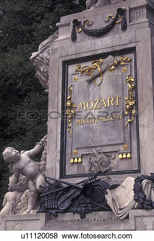 Pictures of Mozart, Vienna, Austria, Wien, Gold inscription on.