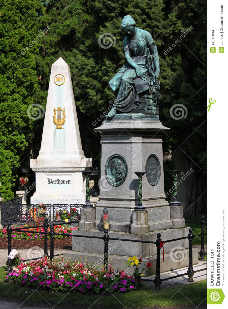 Mozart Memorial And Grave Of Beethoven In Vienna Stock Images.