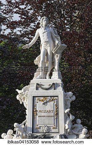 Pictures of Mozart memorial in Burggarten, Vienna, Austria, Europe.