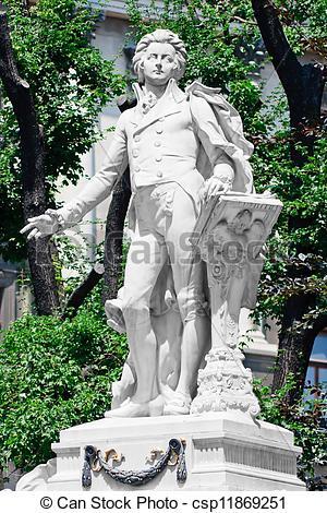 Stock Images of Mozart Memorial / Monument in Vienna Burggarten.