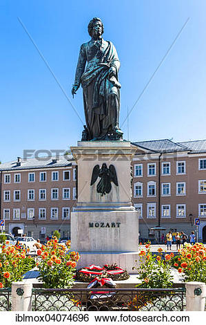 Stock Images of Mozart Monument, Mozart Square, historic centre.